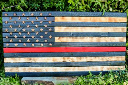 red blue line rustic american flag