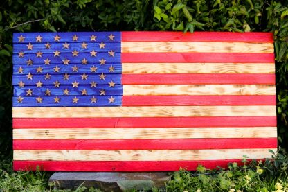 usa rustic wooden flag