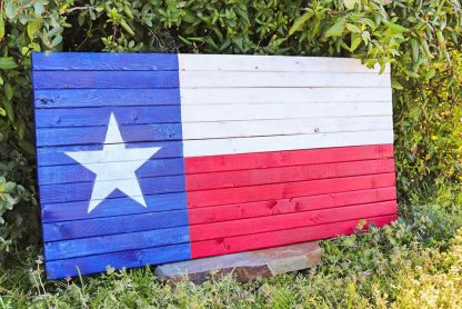 texas rustic wooden flag