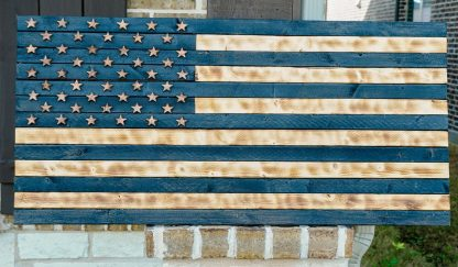 usa wood flag black